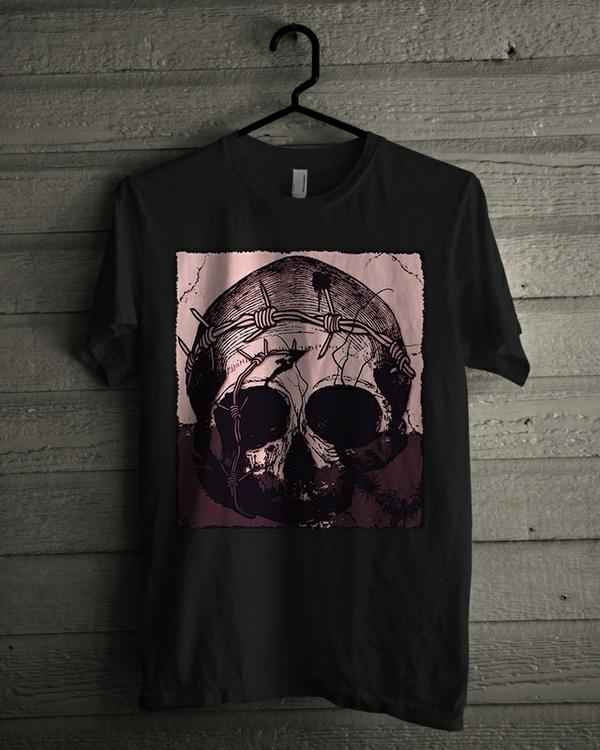 T-shirt Design Image - Skull In Pink - Purple Color