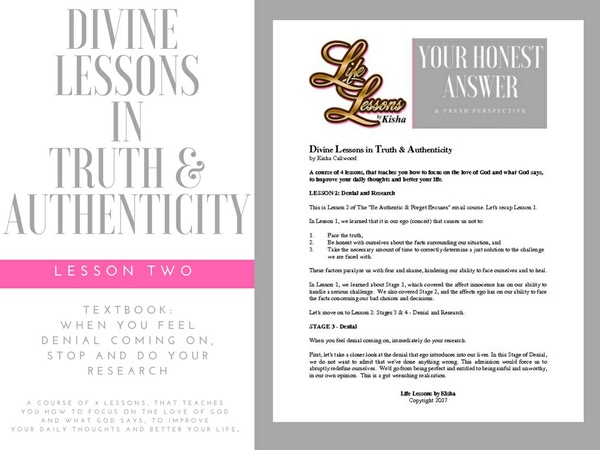 Divine Lessons in Truth & Authenticity - Textbook: Lesson 2: Denial & Research