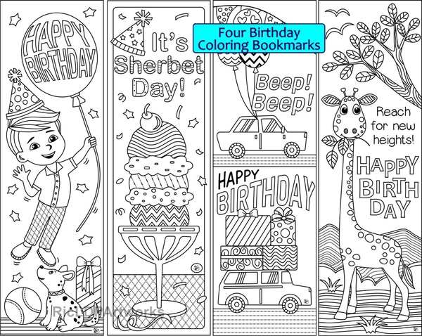 4 Birthday Coloring Bookmarks