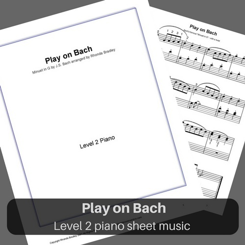 "Bach Minuet in G arrangement ""Play on Bach"" level 2 piano sheet music"