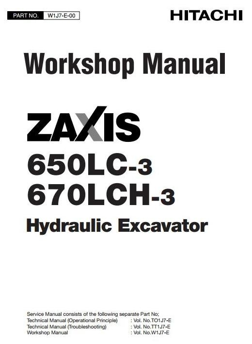 Hitachi Hydraulic Excavator 650LC-3, 670LCH-3 Workshop Service Manual