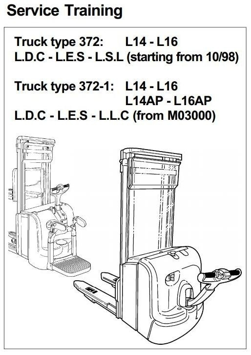 Linde Pallet Stacker Type 372: L14 , L14AP, L16 , L16AP Service Training (Workshop) Manual