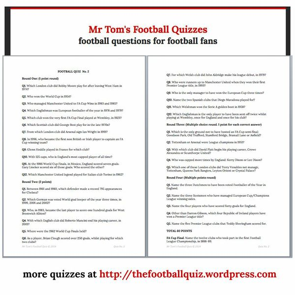Mr Tom's Football Quiz No.2