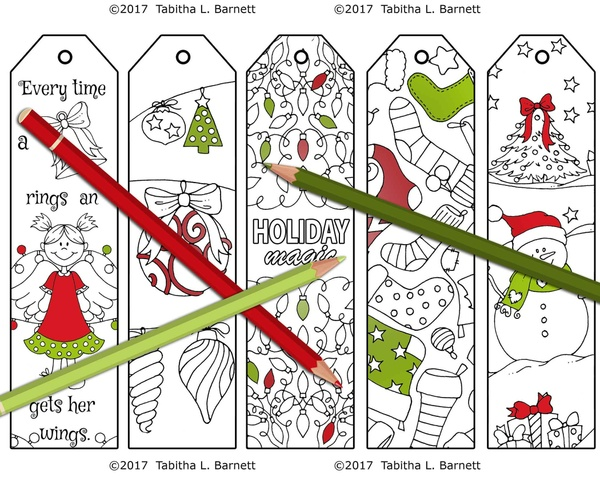 Christmas Coloring Bookmarks/Gift Tags Set 1 JPG
