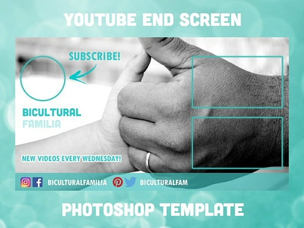 YouTube End Screen Photoshop Template (2017 .PSD INSTANT DOWNLOAD)
