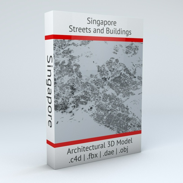 Singapore Streets and Buildings Architectural 3D Model