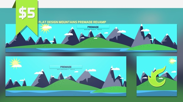 Flat Design Mountains Premade Revamp