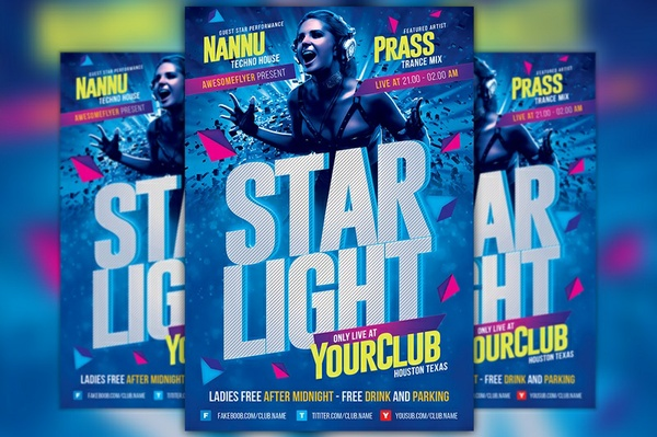 Starlight Club Party Flyer Template