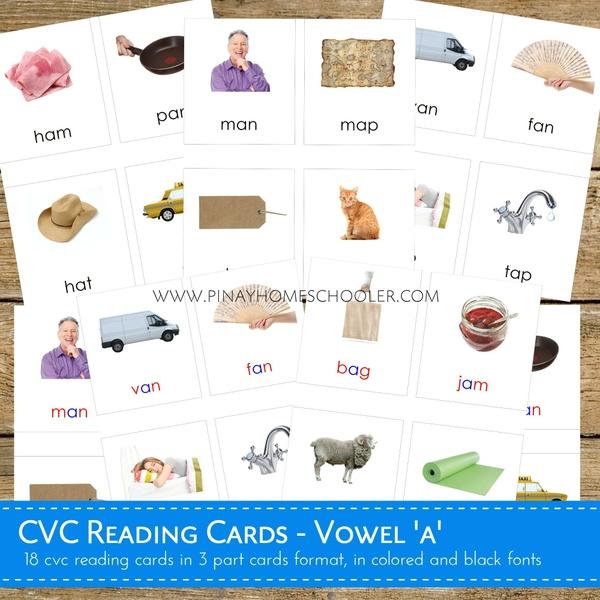Montessori CVC Reading Cards Vowel A