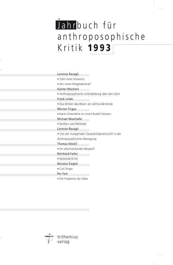 Jahrbuch für anthroposophische Kritik 1993
