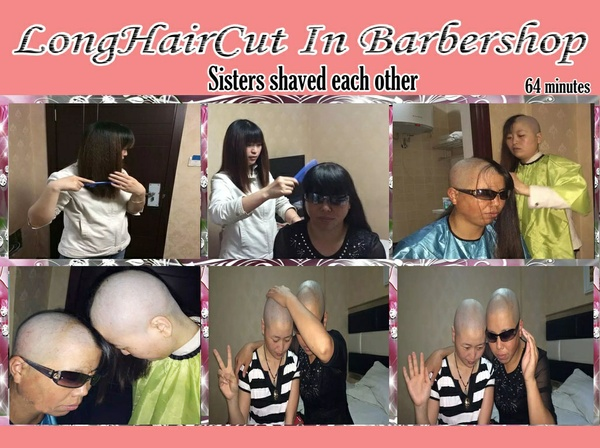 Sisters shaved each other
