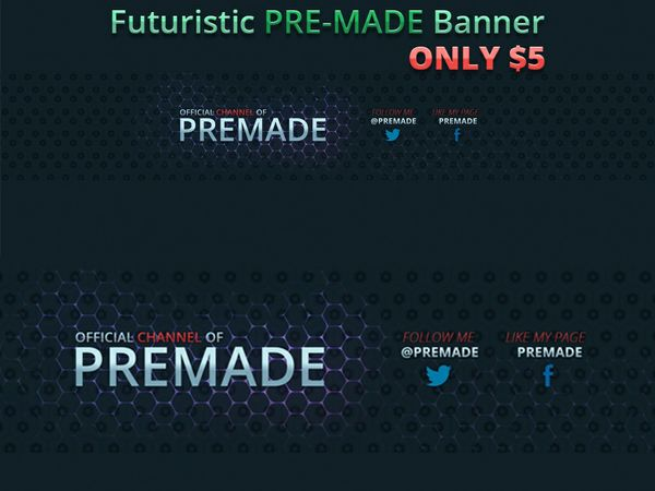 Awesome Futuristic PRE-MADE Youtube Banner/Channel Art