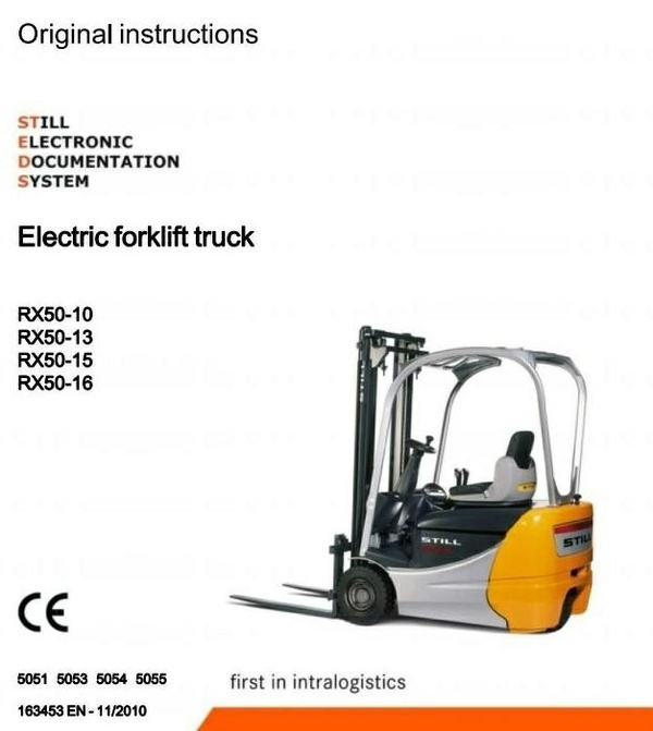 Still Forklift Truck RX50-10, RX50-13, RX50-15, RX50-16: 5051, 5053, 5054, 5055 Operating Manual