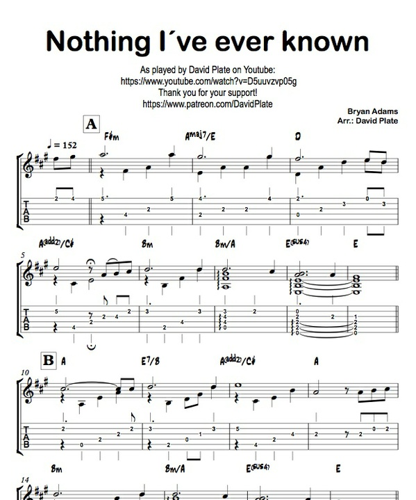 NOTHING I´VE EVER KNOWN (Bryan Adams) TABs + Score - Guitar Arrangement