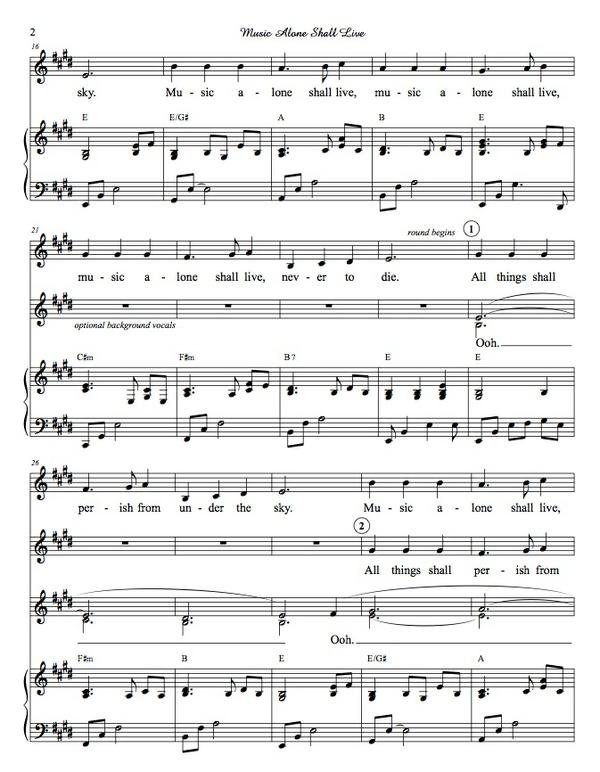Music Alone Shall Live - score and mp3 accompaniment track