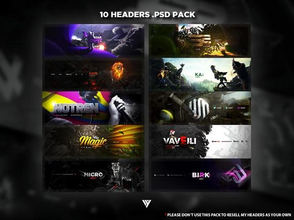 10 Headers .PSD Pack