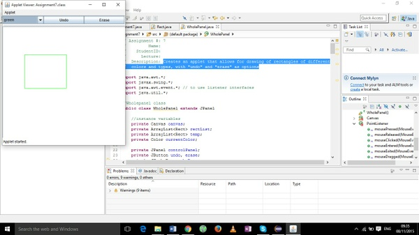 The program creates an applet that allows for drawing of rectangles of different colors and types