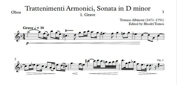 Albinoni Op.6 No.4 Sonata in D minor. Solo parts pdf and mp3 accompaniment