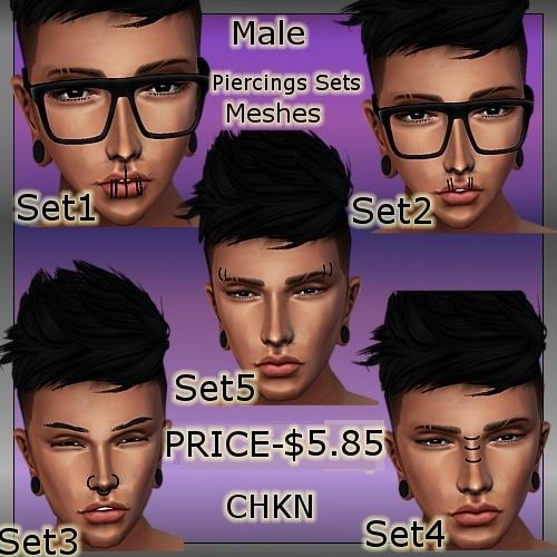 Male Piercings Set MESH (5 Meshes)