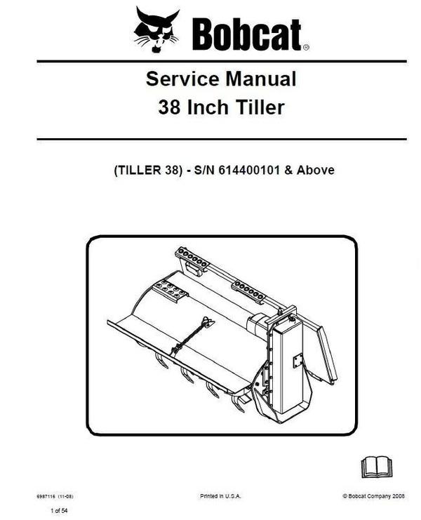 Bobcat 38″ Tiller Service Repair Manual PDF S/N 6144 00101 & Above