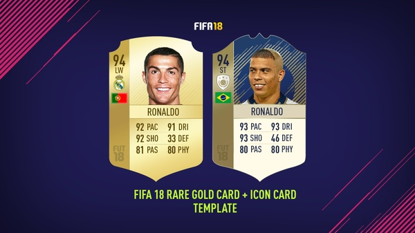 FIFA 18 RARE GOLD AND ICON CARD EDITABLE TEMPLATE