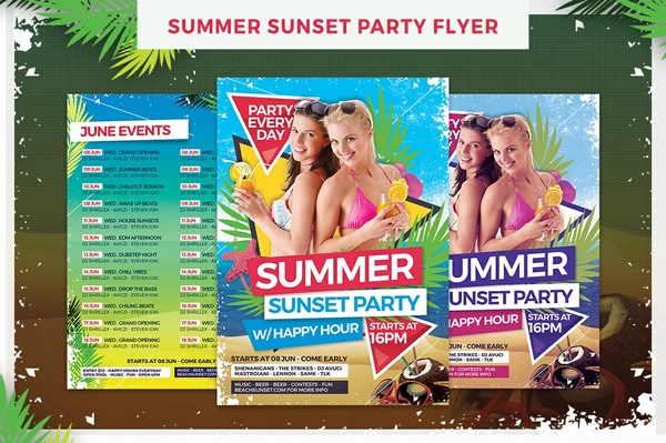 Summer Sunset Party Flyer Template
