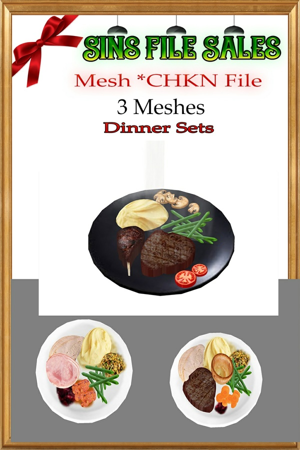 3 Dinner Plate Meshes * CHKN Files
