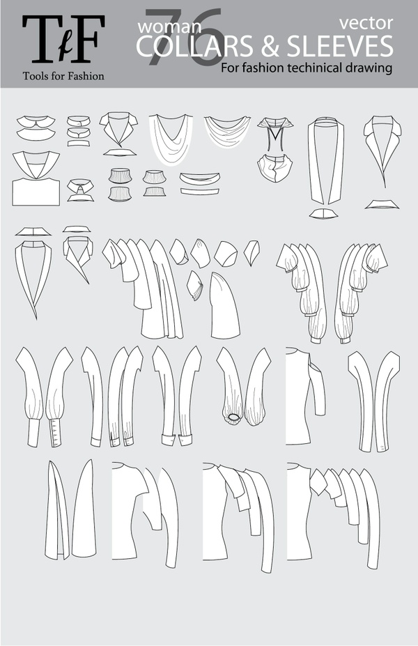 Collars and Sleeves for Vector Fashion Technical Drawing