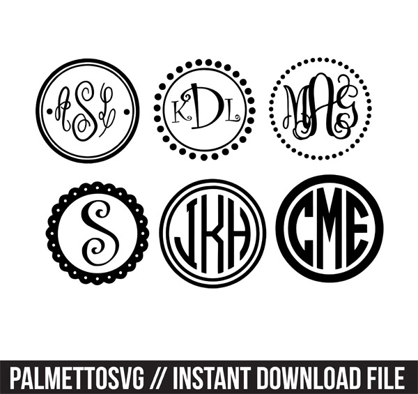 circle monogram frames with 10+ monogram svg silhouette cricut downloads sale