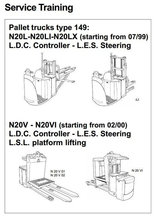 Linde Order Picker Type 149: N20L:, N20LI, N20LX, N20V, N20VI Service Training Manual