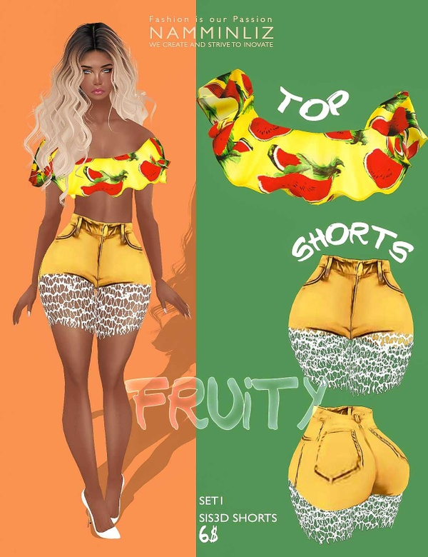 Fruity Set1  • Shorts Sis3d + Top imvu Texture JPG
