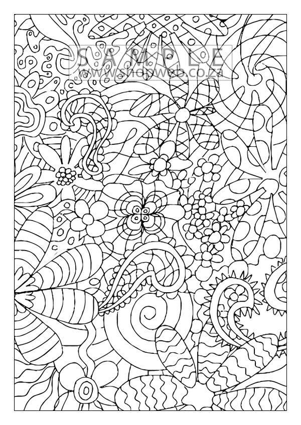 Psychodelic pattern colouring-in page 1