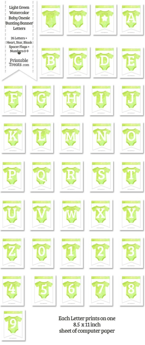 Light Green Watercolor Baby Onesie Bunting Banner Letters Download