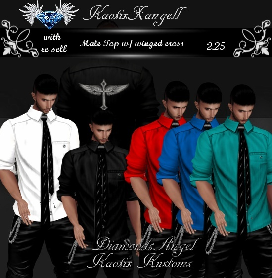 Winged Cross Male Top With Re Sell