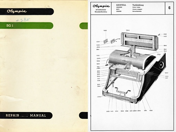 Olympia SG-1 Standard Typewriter Service Repair Adjustment Manual