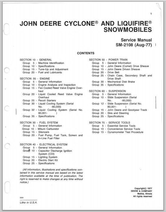 1976-1978 John Deere Cyclone / Liquifire   service Repair Manual.