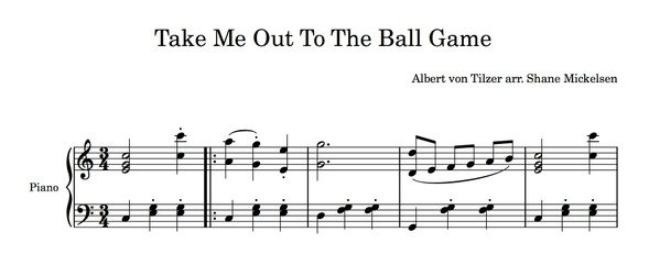 Take Me Out To The Ball Game - Intermediate Piano Solo