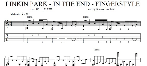 Linkin Park - In The End - Fingerstyle gutiar TAB - arr. Raiko Baichev