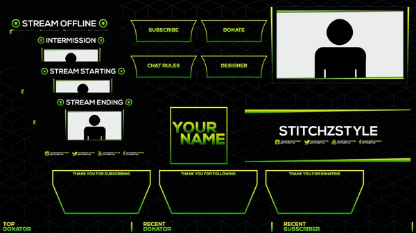 Green and Dark Blue Patterned Twitch Stream Rebrand Photoshop Template Pack