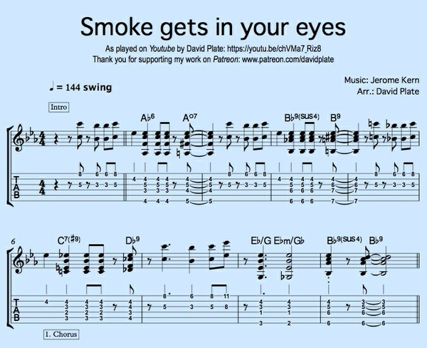 SMOKE GETS IN YOUR EYES (Kern/Harbach) - Guitar Solo Version in the Style of Wes Montgomery