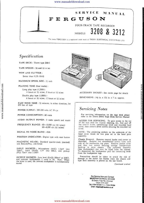 Ferguson 3208 Service Manual