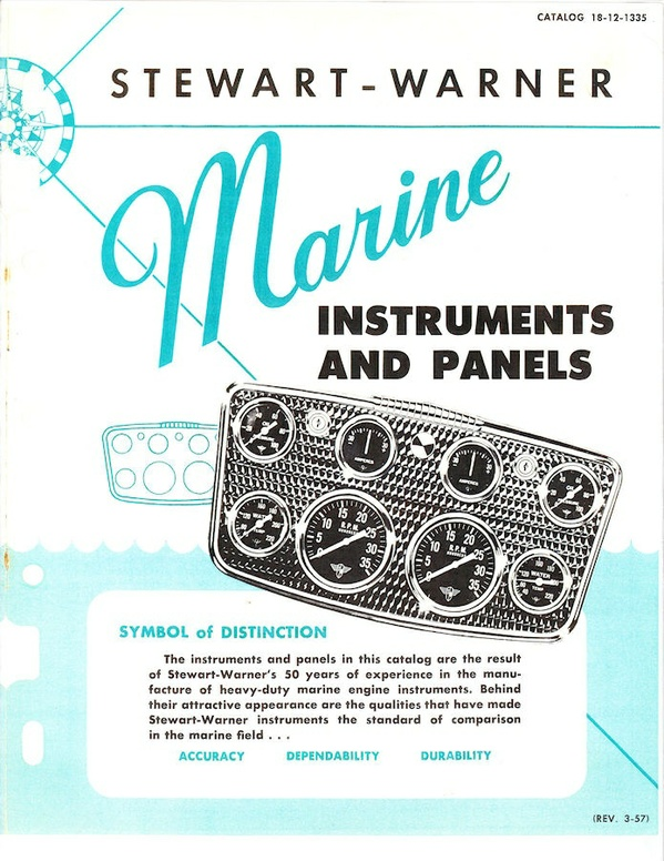1957 Stewart Warner Marine Instruments and Panels Catalog