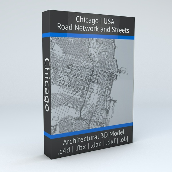 Chicago Road Network and Streets Architectural 3D Model