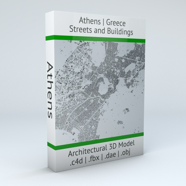 Athens Streets and Buildings Architectural 3D Model