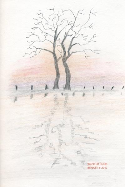 Winter Pond, notecard from original artwork