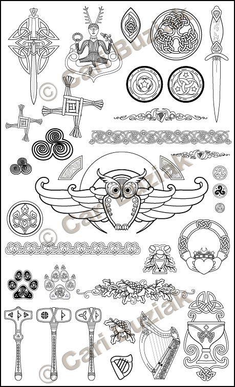 "Aon Wedding Stationery - ""Druid's Lore"" set, Black and White, 150dpi"