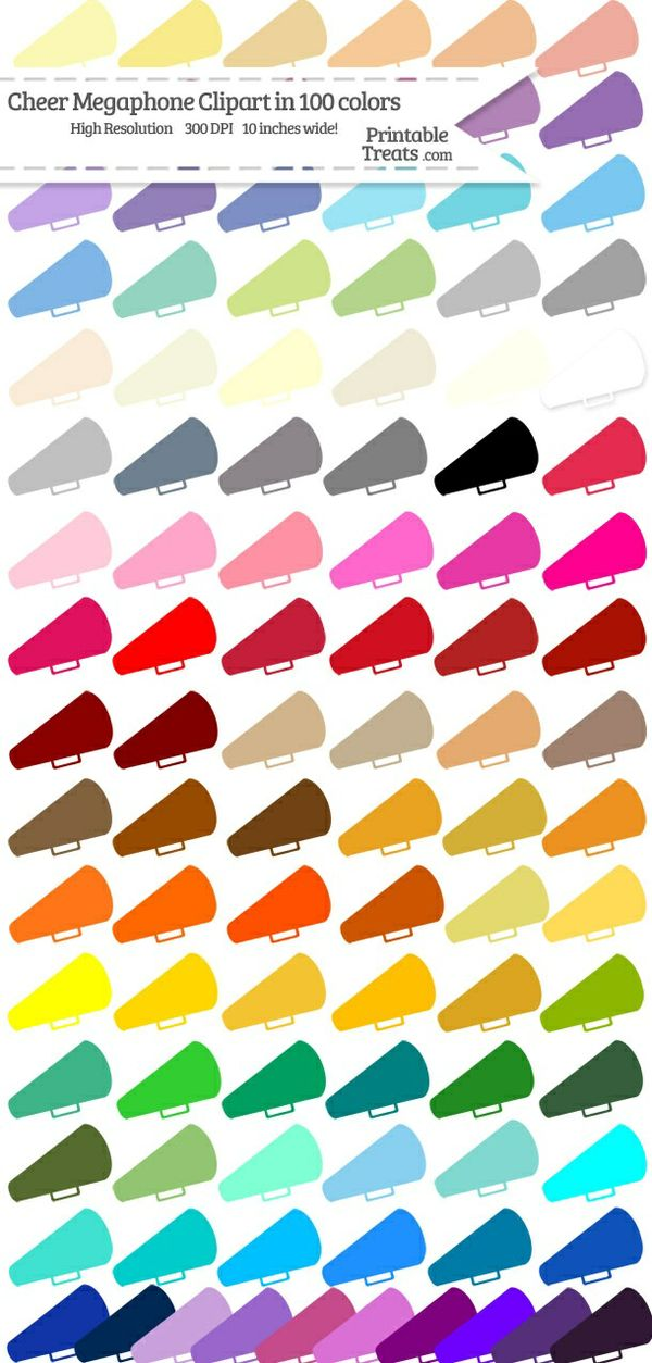 100 Colors Cheer Megaphone Clipart Password