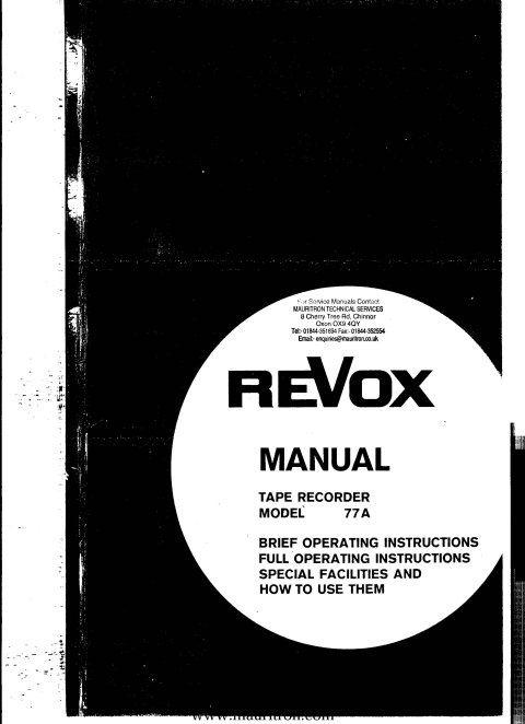Revox A77 Operating Guide
