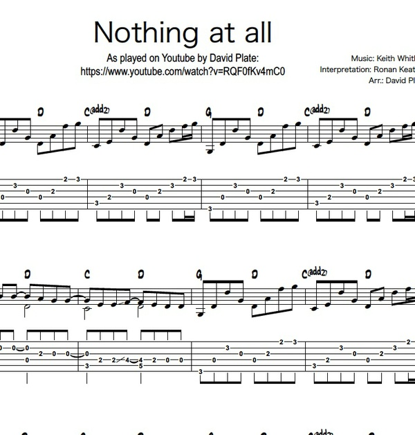 NOTHING AT ALL (Ronan Keating) - Fingerstyle Guitar Arrangement (TABs + Notation)