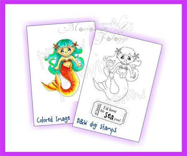 Mermaid 1 Digital stamp and sentiment